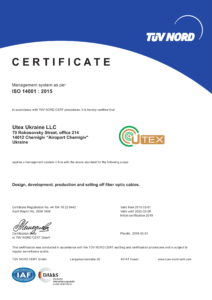 Certificate of management system as per ISO 14001:2015