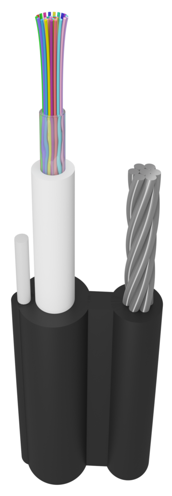 ЮТЕКС, UTEX, Подвесной оптический кабель формы 8 ОКП8(2,7)Т (2.7 кН) | Кабель волоконно-оптический внешний, многомодульной конструкции, самонесущий, со стальным тросом